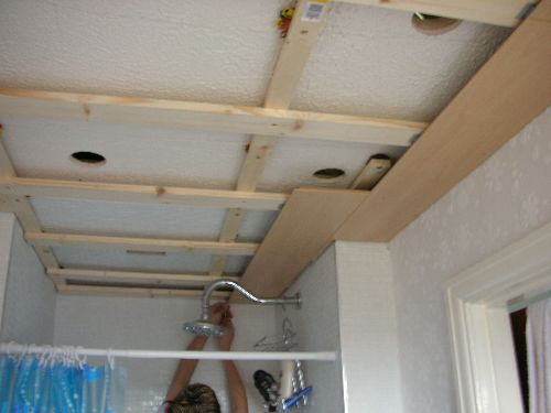 How To Clad A Ceiling Diy - Bathroom celing