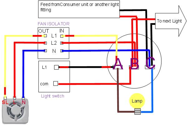 Wiring Diagram For A Timed Extractor Fan : Install shower extractor fan electrics