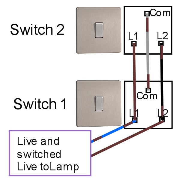 two_way_harmonised two way light switching light fitting wiring diagram for 1 light with 2 switches at crackthecode.co
