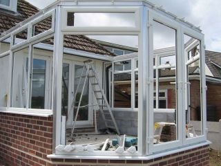 conservatory being built