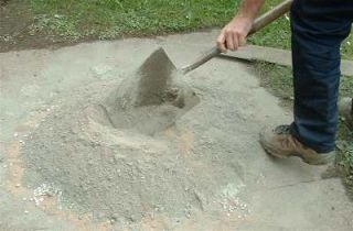 Mixing cement by hand