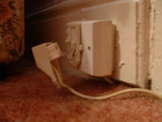 damaged telephone socket