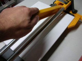 tile cutter in use